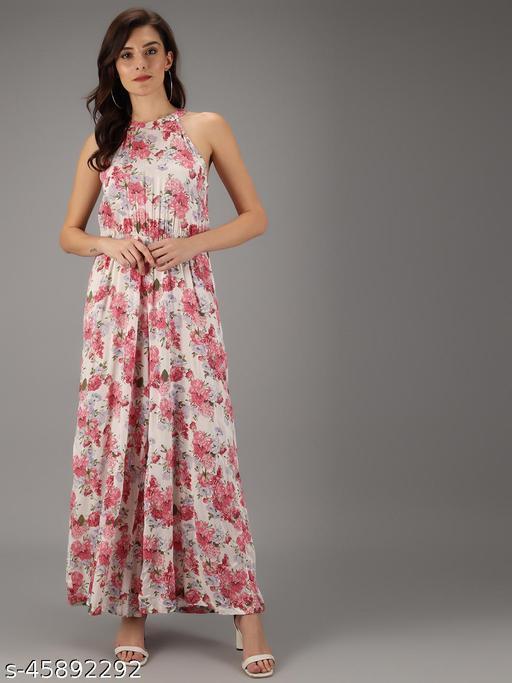 TRISLIN White & Pink Floral Printed Jumpsuit