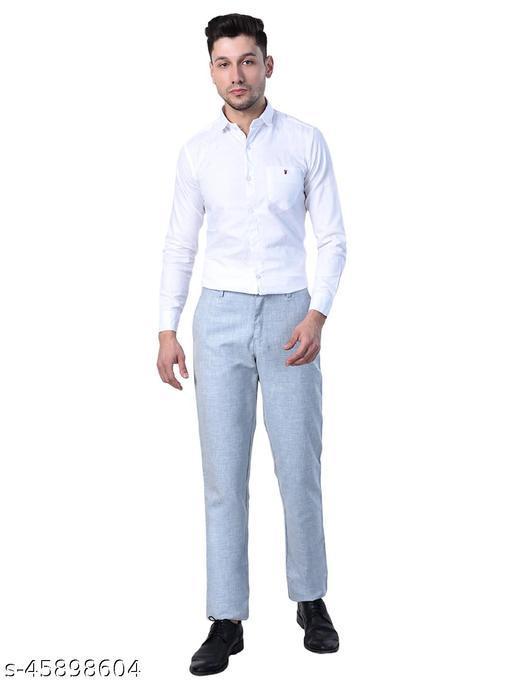 Ultra Comfortable Slim Fit Self Design Linen Men Formal Trousers.