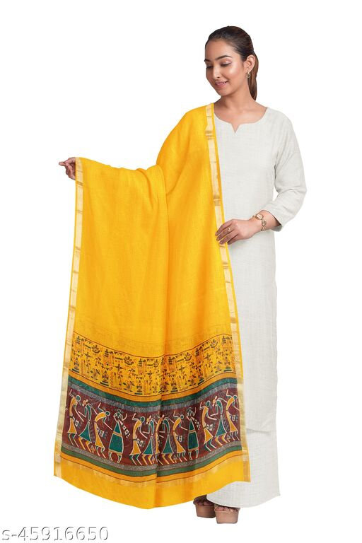 TIKULI Women's Gold Printed Cotton Dupatta