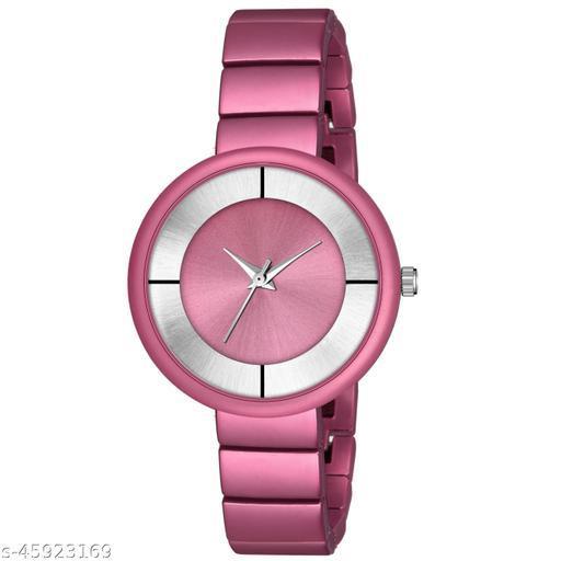 New Fashion Round Dial Watch - Csamon_33_Dark Pink
