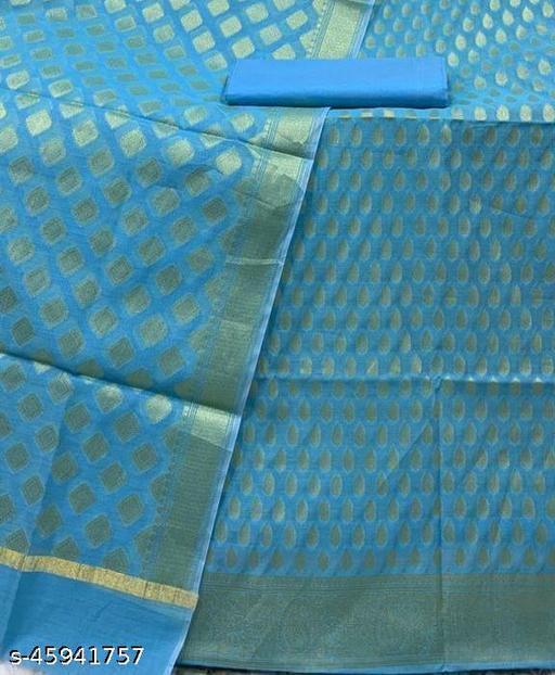 (9Aqua Blue) TrenDy Banarsi Cotton Suit And Dress Material