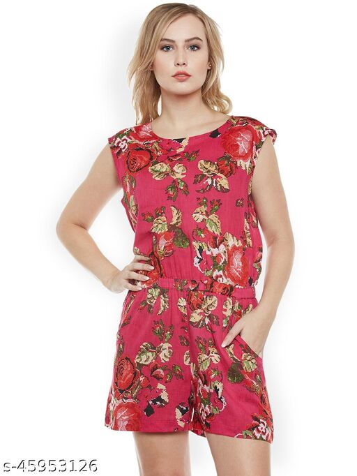 I AM FOR YOU Red Printed Playsuit