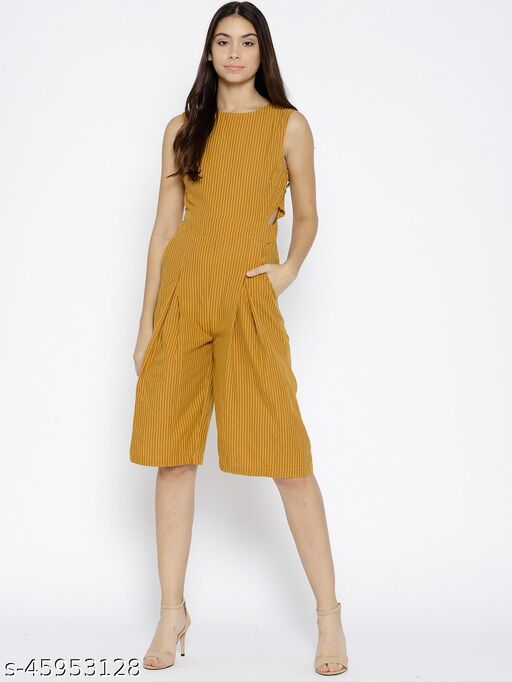 I AM FOR YOU Yellow & Green Striped Culotte Jumpsuit