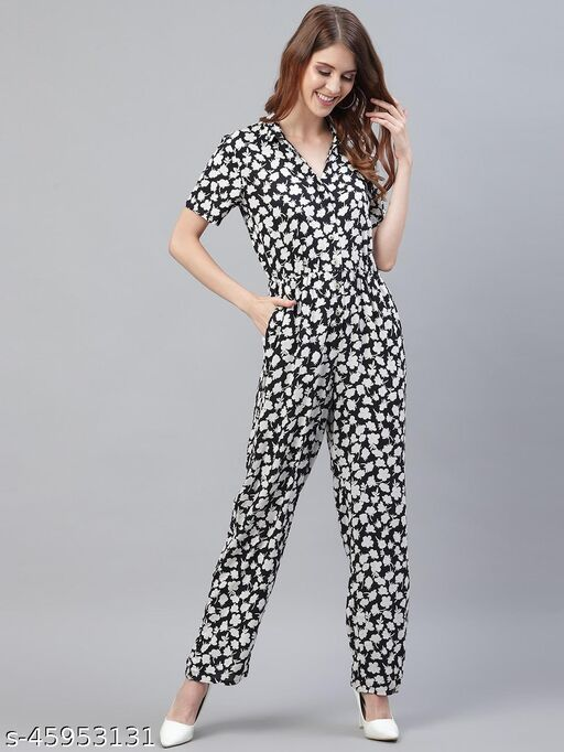 I AM FOR YOU Women Black & White Printed Basic Jumpsuit