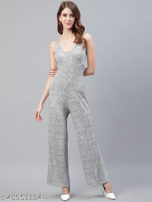 I AM FOR YOU Women Black & Off-White Printed Basic Jumpsuit