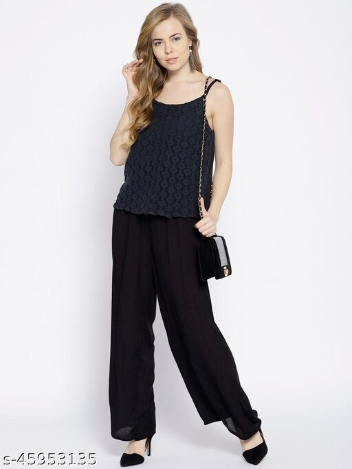 I AM FOR YOU Navy Blue Lace Detail Basic Jumpsuit