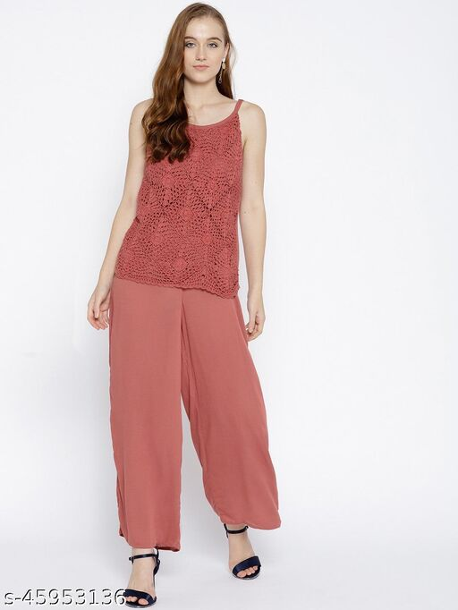 I AM FOR YOU Rust Red Lace Detail Basic Jumpsuit