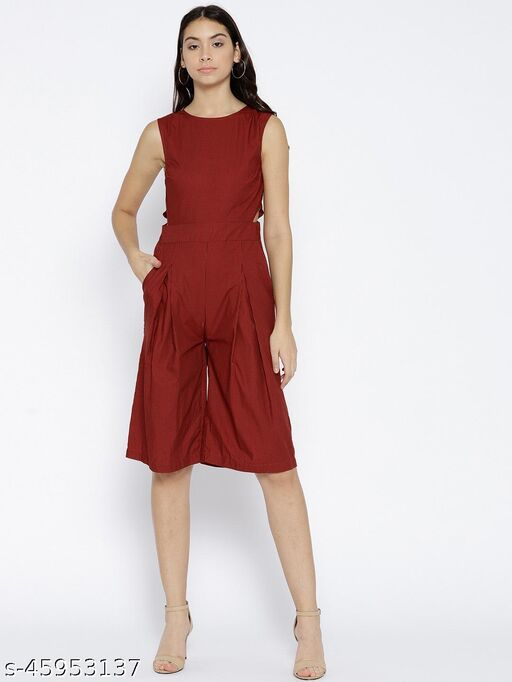 I AM FOR YOU Red & Black Striped Culotte Jumpsuit