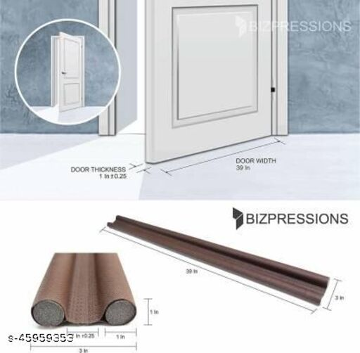 """Door Draft Stopper, Double Sided, Protection with Dust, Cooling Air, Control Environment. (36"""" Inch, 3' Feet) Floor Mounted Door Stopper(Brown)"""