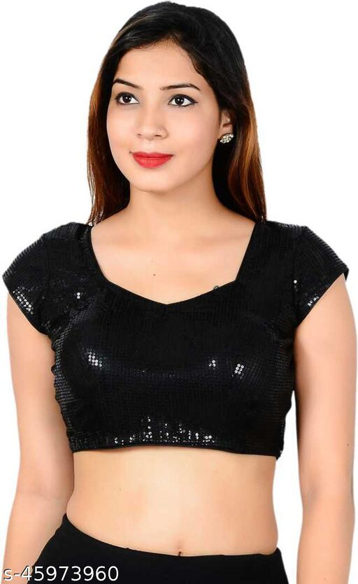 BRIVA Girl's & Women's Cotton Silk Readymade Sweetheart Neck Short Sleeve Blouse (Fit Up To Bust Size : 38 to 42)