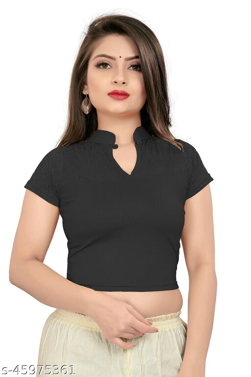 BRIVA Girl's & Women's Cotton Lycra Blend Readymade Band Collar Short Sleeve Blouse
