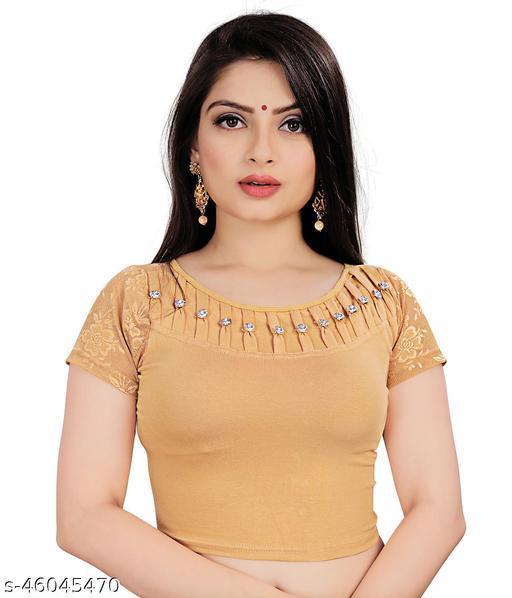 Mansi F Studio Girl's & Women's Cotton Lycra Blend Readymade Round Neck Short Sleeve Blouse