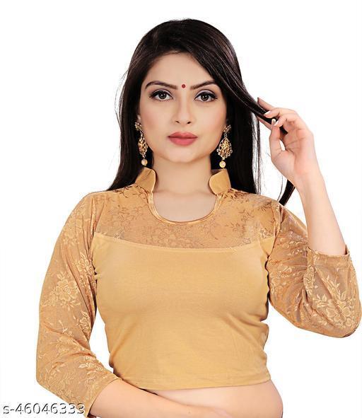 Mansi F Studio  Girl's &  Women's Cotton Lycra Blend Readymade Fashion Neck 3/4 Sleeve Blouse