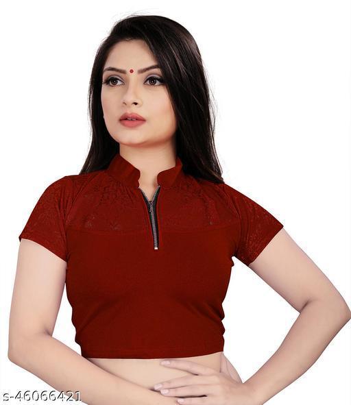Mansi F Studio Girl's & Women's Cotton Lycra Blend Readymade Band Collar Short Sleeve Blouse