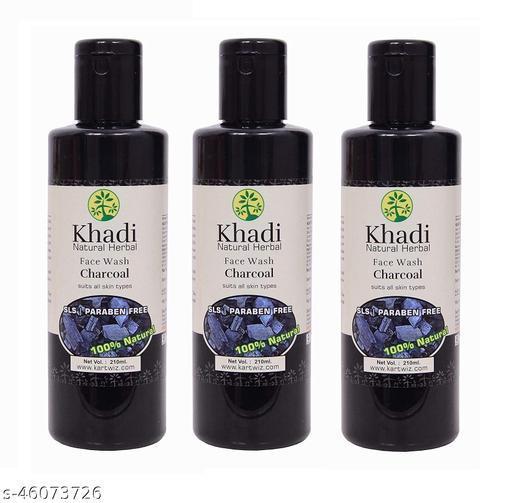 Khadi Natural Herbal Charcoal Sls & Paraben Free Face Wash 100 % Natural Pack of -03