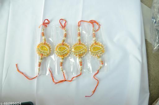 Hariom Designer Beads Multicolour Rakhi Pack Of 4