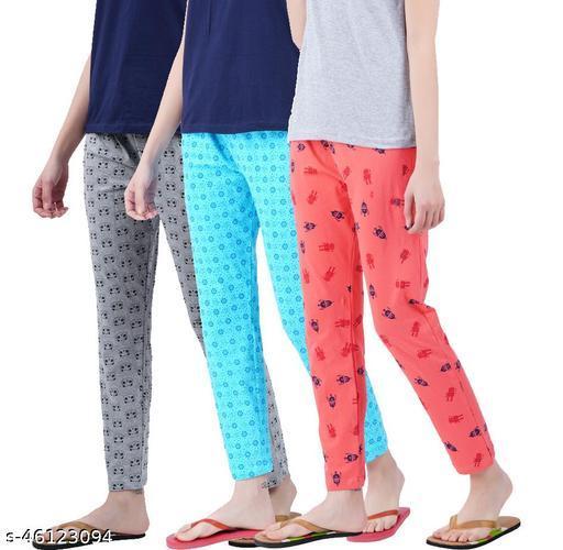 Womens Cotton Printed Pyjama  (Pack of 3 )