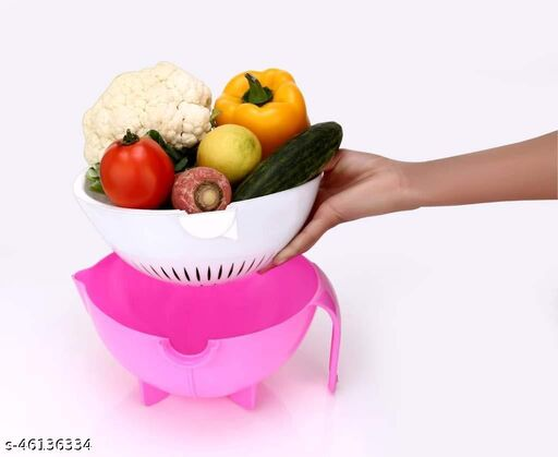 THE HIND GROUP Multifunctional Fruits and Vegetables Washing Bowl and Strainer, Double Layer Washing Drain Basket Colander, Magic Rotate Vegetable Storage Basket (Multicolor)