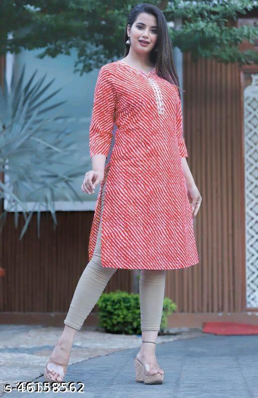 Woman cotton lahariya print straight kurti gota work