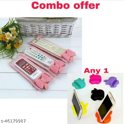 Remote Cover/TV, Air Conditioner, D2H, DTH Remote Control Dust Cover (Pack of 3) with 1 Apple Shape Mobile Stand
