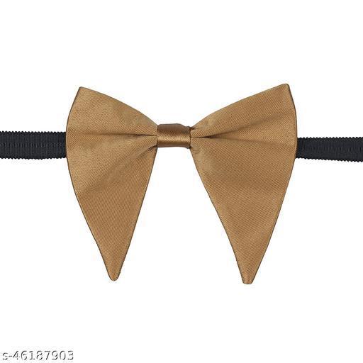 Mens Satin Solid Golden Oversized Adjustable Strap Bow Tie (Gold)
