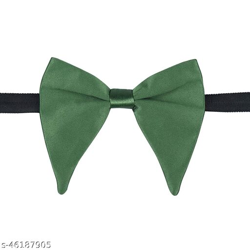Mens Satin Solid Green Oversized Adjustable Strap Bow Tie (Green)