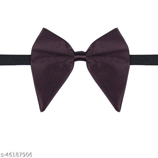 Mens Satin Solid Purple Oversized Adjustable Strap Bow Tie (Purple)