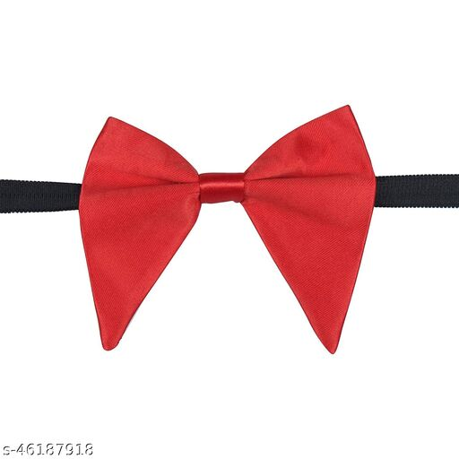 Mens Satin Solid Red Oversized Adjustable Strap Bow Tie (Red)