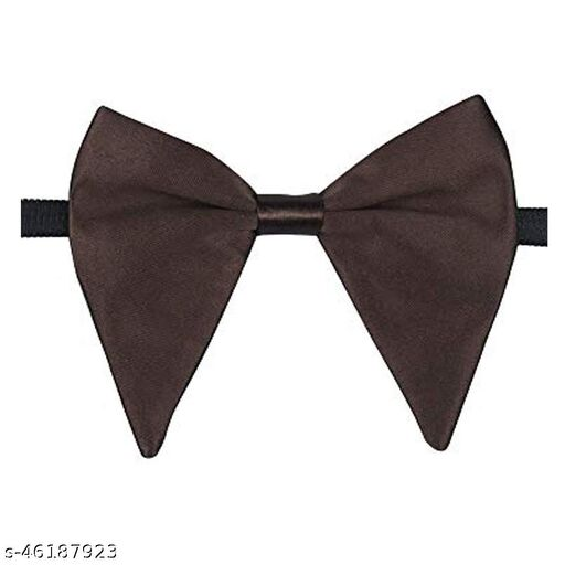 Mens Satin Solid Brown Oversized Adjustable Strap Bow Tie (Brown)