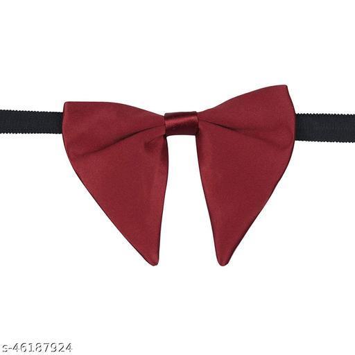 Mens Satin Solid Maroon Oversized Adjustable Strap Bow Tie (Maroon)