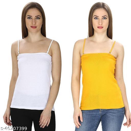 JMDE Women's Camisol Pack of 2 White Yellow