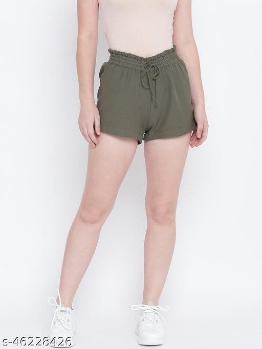 Flashing bold khaki elasticated  women causal Linen shorts
