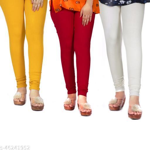 Unyki Women,s Casual Lycra Blend & Elastic Waistline Leggings Mustard, Red, White