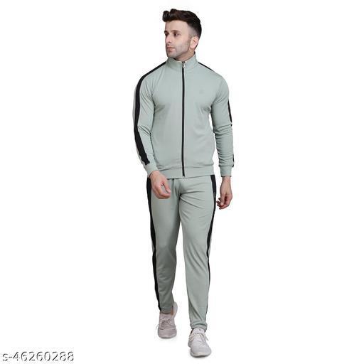 PRAUME Men's Polyester Lycra Track Suit (Grey)