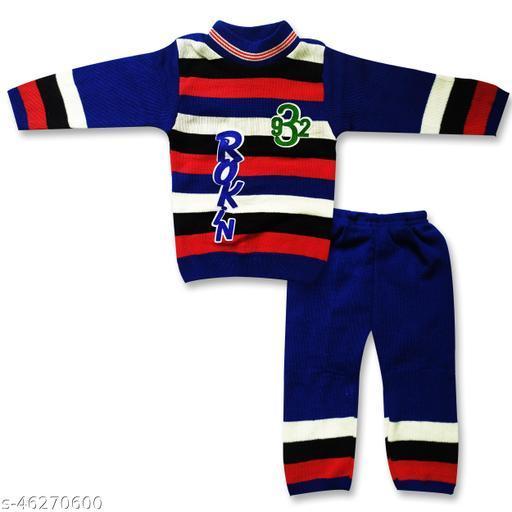 Baby Kids Boys & Girls Woolen Winter Thermal Wear and Lower Body Warmer Set Pack of 1