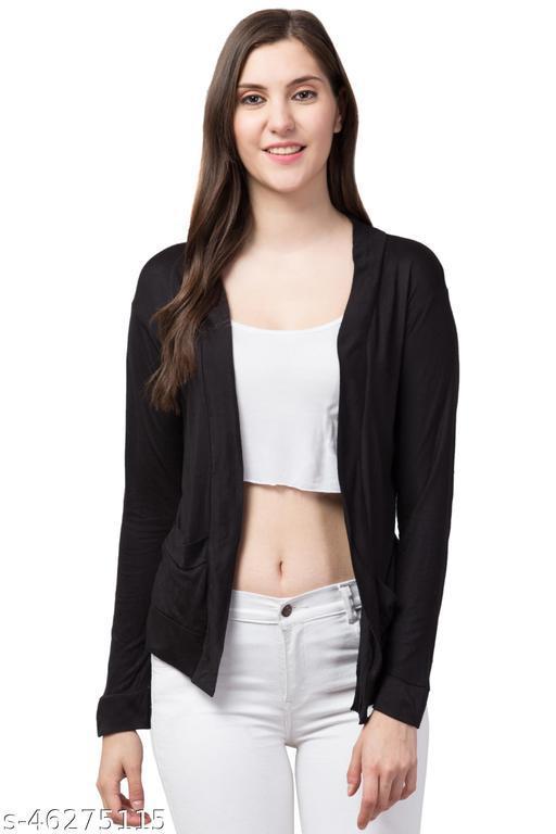 Women Trendy Style Full Sleeve Net Black Shrug