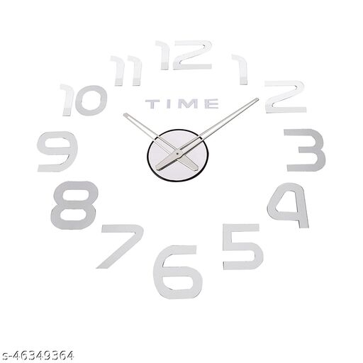 KBL  Foam DIY Creative 3D Stickers Analogue Plastic Wall Clock for Living Room Bedroom Office (1102-silver)