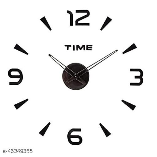 KBL Foam DIY Creative 3D Stickers Analogue Plastic Wall Clock for Living Room Bedroom Office (1103-Black)