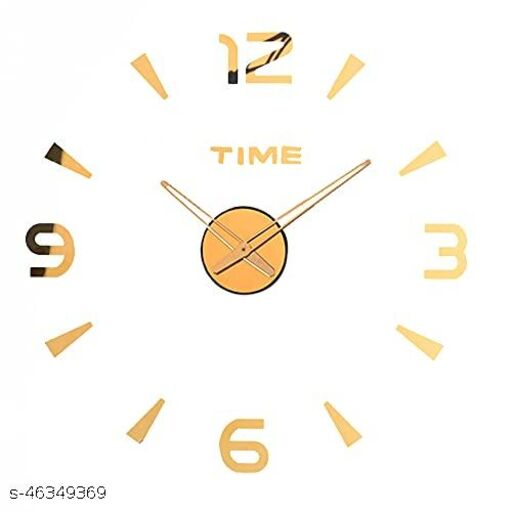 KBL Foam DIY Creative 3D Stickers Analogue Plastic Wall Clock for Living Room Bedroom Office (1103-Gold)