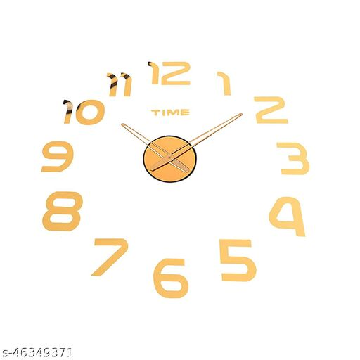 KBL  Foam DIY Creative 3D Stickers Analogue Plastic Wall Clock for Living Room Bedroom Office (1102-Gold)