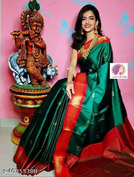 Laxmi silk Green & Red Attractive Design Cotton silk saree
