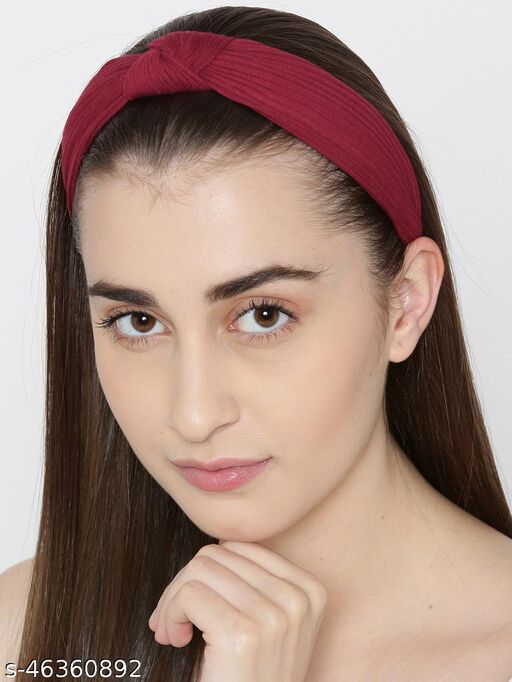 Prita Maroon Solid Knotted Hairband