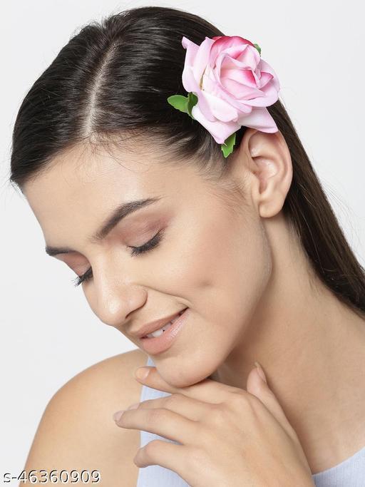 Priyaasi Set Of 2 Magenta Ombre Rose Alligator Clip Hair Accessory