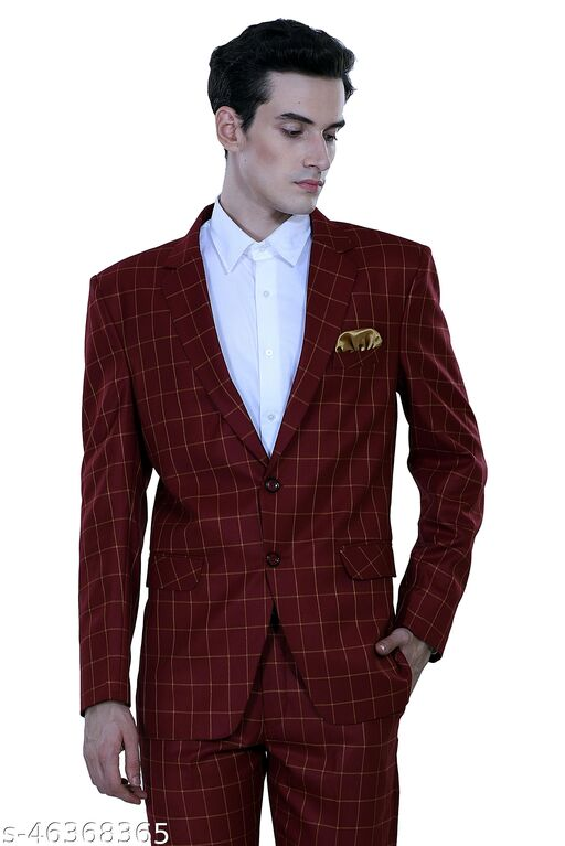 Touch King Double Button Checkers Design Regular Fit Blazer for Men's (Color-Maroon) Available in 6 Size (BLAZER ONLY)