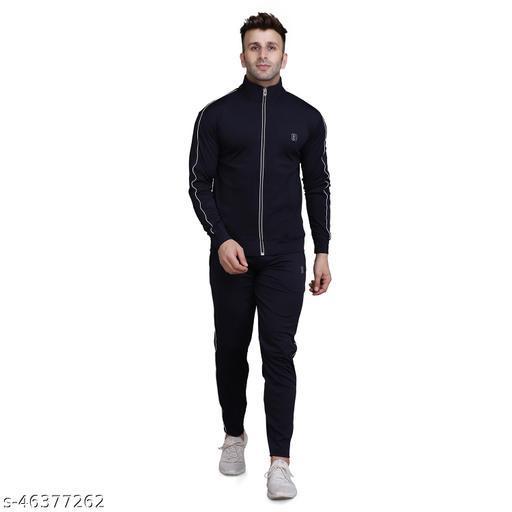 PRAUME Men's Polyester Lycra Track Suit (Black)