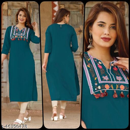 Latest Designer Women's and Girl's Rayon  Embroidered Kurti