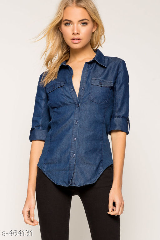 Shirts Stylish Denim Shirt  *Fabric* Denim   *Sleeves* Sleeves Are Included   *Bust Size* S - 36 in, M - 38 in, L - 40 in, XL - 42 in   *Length* Up to 28 in   *Type* Stitched   *Description* It Has 1 Piece Of Women's Shirt   *Pattern* Solid  *Sizes Available* S, M, L, XL *   Catalog Rating: ★3.9 (511)  Catalog Name: Free Mask Trendyfrog Classy Denim Shirts Vol 22 CatalogID_50680 C79-SC1022 Code: 343-464131-