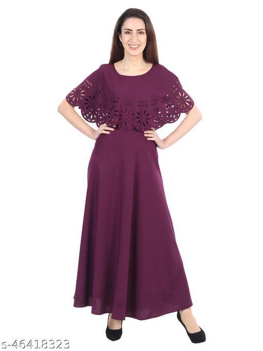 PREEGO Women's Casual Ponchu Maxi Maroon Dress
