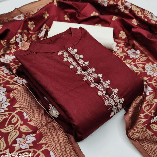 SAINOOR Women'S Maroon Colour Straight Style Thread Dress Material (2 Mtr) - 11071G