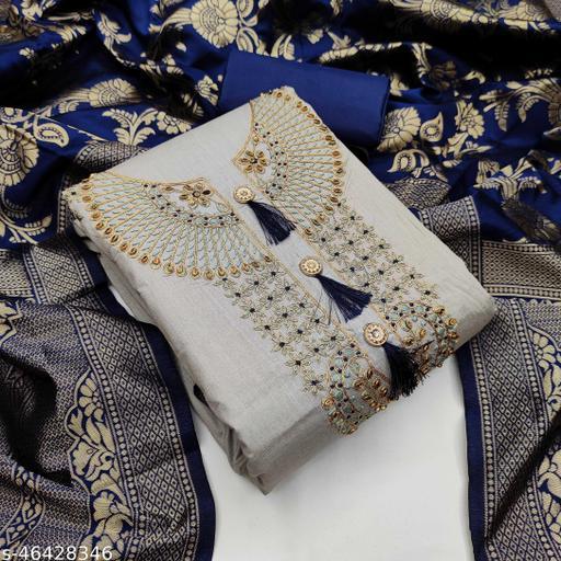 SAINOOR Women'S Light Blue Colour Straight Style Hand Work Dress Material (2 Mtr) - 11071B